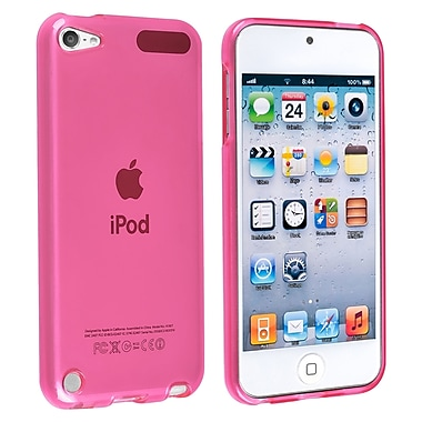 Insten® TPU Rubber Skin Case For iPod Touch 5th Gen, Frost Clear Hot Pink