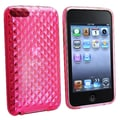Insten® TPU Rubber Skin Case For iPod Touch 2nd/3rd Gen, Clear Hot Pink Diamond