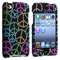 Insten® Hard Plastic Snap-in Case For iPod Touch 4th Gen, Black Rainbow Peace Sign Bling