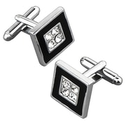 Insten® Nickel Plated 4 Jewels Square Cufflink, Black/ Silver