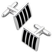Insten® Version 2 Square Cufflink, Black/Silver