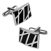 Insten® Rectangle Cufflink, Black/Silver