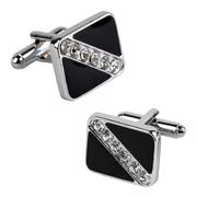 Insten® 6 Jewels Rhodium Plated Square Cufflink, Black