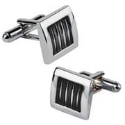 Insten® Square Cufflink, Black/Silver