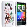 Insten® Rubber Coated Snap-in Case For HTC Desire HD, White Butterfly Flower