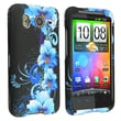 Insten® Rubber Coated Snap-in Case For HTC Inspire 4G/Desire HD, Black/Blue Flowers