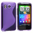 Insten® TPU Rubber Skin Case For HTC Desire HD/Inspire 4G, Frost Purple S Shape