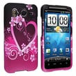Insten® Rubber Coated Snap-in Case For HTC Inspire 4G/Desire HD, Purple Heart With Flowers