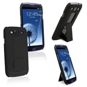 Insten® Rubber Coated Snap-in Case With Stand For Samsung Galaxy S III/S3, Black