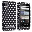Insten® Snap-in Rubber Coated Case For Motorola A955 Droid 2, Black/White Polka Dots