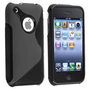 Insten® TPU Rubber Skin Case For Apple iPhone 3G/3GS, Black S Shape