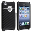 Insten® Plastic Snap-in Case For Apple iPhone 3G/3GS, Black Carbon Chrome