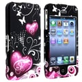 Insten® Hard Plastic Snap-in Case For Apple iPhone 4/4S, Dark Purple Heart With Butterfly