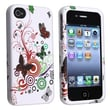 Insten® Rubber Coated Snap-in Case For Apple iPhone 4/4S, White Autumn Flower