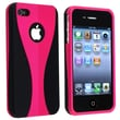 Insten® Rubber Coated Snap-in Case For Apple iPhone 4/4S, Hot Pink/Black