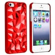 Insten® Hard Plastic Snap-in Case For Apple iPhone 5/5S, Clear Red Diamond Cut