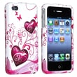 Insten® Plastic Snap-in Case For Apple iPhone 4/4S, White/Pink Heart