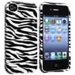 Insten® Hard Plastic Snap-in Case For Apple iPhone 4/4S, White/Black Zebra