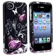 Insten® Hard Plastic Snap-in Case For Apple iPhone 4/4S, Black/Purple Heart