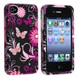 Insten® Rubber Coated Snap-in Case For Apple iPhone 4/4S, Pink/Black Butterfly