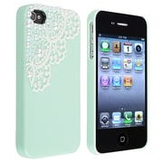 Insten® Hard Plastic Snap-in Case For Apple iPhone 4/4S, Mint Green Lace and Pearl