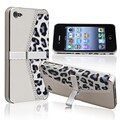 Insten® Rubber Coated Snap-in Case With Stand For Apple iPhone 4/4S, Chrome Silver Leopard