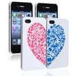 Insten® Snap-in Hard Plastic Case Set For Apple iPhone 4/4S, White W/ Red/Blue Heart Rear