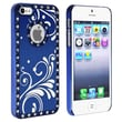 Insten® Hard Plastic Snap-in Case With Flower For Apple iPhone 5/5S, Bling Luxury Blue With Flower