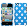 MYBAT™ Plastic Phone Protector Case For iPod Touch 4th Gen, White Polka Dots/Blue