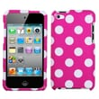 MYBAT™ Plastic Phone Protector Case For iPod Touch 4th Gen, White Polka Dots/Hot Pink