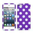 MYBAT™ Plastic Phone Protector Case For iPod Touch 5th Gen, White Polka Dots/Purple