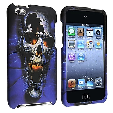 Insten® Rubber Coated Snap-in Case For iPod Touch 4th Gen, Blue Skull