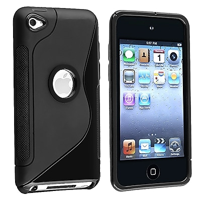 Insten TPU Rubber Skin Case For iPod Touch 4th Gen Frost Black S Shape