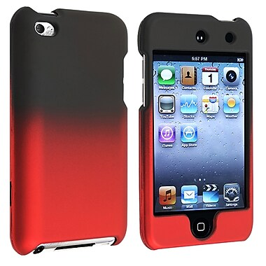 Insten® Rubber Coated Snap-in Case For iPod Touch 4th Gen, Black To Red