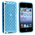 Insten® TPU Rubber Skin Case For iPod Touch 4th Gen, Clear Dark Blue Diamond