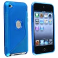 Insten® TPU Rubber Skin Case For iPod Touch 4th Gen, Frost Clear Blue S Shape
