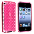 Insten® TPU Rubber Skin Case For iPod Touch 4th Gen, Clear Hot Pink Diamond