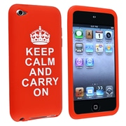 "Insten® Silicone Skin Case With ""Keep Calm and Carry On"" Quote For iPod Touch 4th Gen, Red"