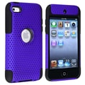 Insten® TPU Rubber Meshed Hybrid Case For iPod Touch 4th Gen, Black/Blue