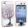 Insten® Rubber Coated Snap-in Case For iPod Touch 4th Gen, White Love Tree Hearts