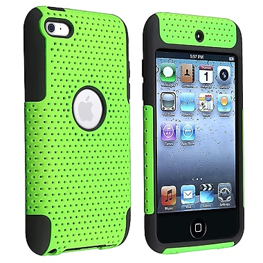 Insten® TPU Rubber Meshed Hybrid Case For iPod Touch 4th Gen, Black/Green