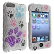 Insten® Hard Plastic Snap-in Case For iPod Touch 2nd/3rd Gen, Silver/Color Dog Paw Bling