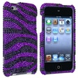 Insten® Hard Plastic Snap-in Case For iPod Touch 4th Gen, Purple/Black Zebra Bling