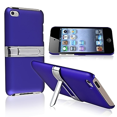 Insten® Hard Plastic Snap-in Case With Chrome Stand Rear For iPod Touch 4th Gen, Blue