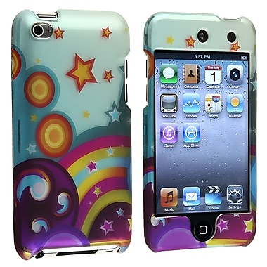 Insten® Rubber Coated Snap-in Case For iPod Touch 4th Gen, Star Rainbow