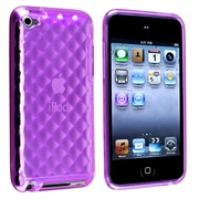 Insten® TPU Rubber Skin Case For iPod Touch 4th Gen, Clear Dark Purple Diamond