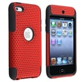 Insten® TPU Rubber Meshed Hybrid Case For iPod Touch 4th Gen, Black/Red