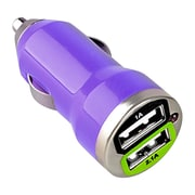 Insten® Dual USB Mini Car Charger Adapter, Purple