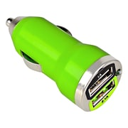 Insten® Dual USB Mini Car Charger Adapter, Green