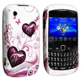 Insten® TPU Rubber Skin Case For BlackBerry Curve 8520/9300, White / Dark Purple Twin Hearts